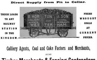 Coal Advertisement from Hookers Almanack