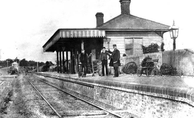 Brasted Station Staff on platform with dog
