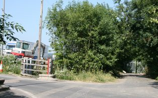 Brasted station goods yard gates and proximity to M25