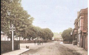 A view past the Crown Hotel looking towards St Mary's School for girls and infants