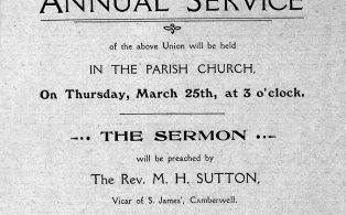 1912 Mothers Union invite poster to the Annual Service