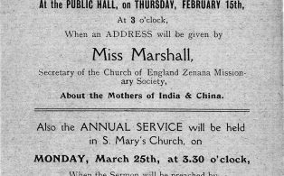 1912 Mothers Union invite poster to a meeting in the Public Hall