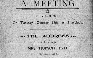 1916 Mothers Union invite poster to meeting in the Drill Hall