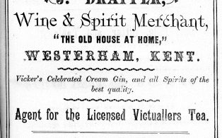 1890 advertisement for J. Drapper landlord of Old House at Home