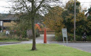 Goods Yard crane base, Westerham station site, view towards goods yard
