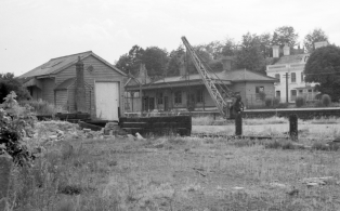 Westerham station site after closure, view to The Crown