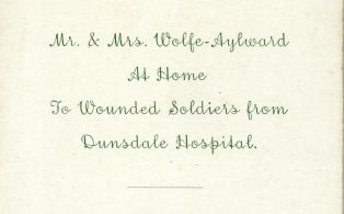 Wolfe Aylward invite at-home to wounded soldiers