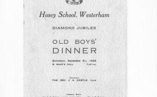 Hosey School Diamond Jubilee old boys' dinner, cover