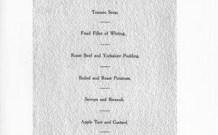 Hosey School Diamond Jubilee old boys' dinner, menu