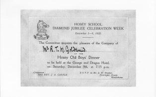 Hosey School Diamond Jubilee old boys' dinner, invitation
