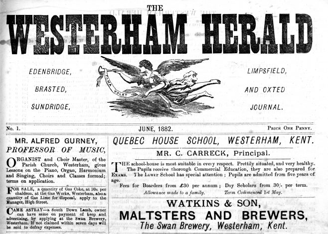 """Eventually his sons Charles William and Alfred joined the firm and following his death on May 15 1900, they continued the main business, but wisely shed many of the diversities offered by their father. The brothers did, however, continue with the 'Westerham Herald', the broadsheet of local news which their father had published every month since June 1882, proclaiming proudly """"It circulates largely amongst the Aristocracy, Trade Agriculturists &c., which makes it a most valuable Advertising Medium"""". When local printer Charles Hooker produced the first edition of the town's newspaper on Thursday June 1 1882, his only previous publication, 'Hookers Almanack' was in its eighteenth year and local news had appeared within it as an annual 'epitome of events'. This was nothing more than a record of births, deaths and marriages, accidents, fires and social occasions, but clearly Charles had spotted an opportunity to broaden the news of the district, to sell more advertising space and add to the firm's commercial turnover. Produced monthly in the early years, price one penny, following a front page of local advertising, this first edition bore a justification for the launch..."""
