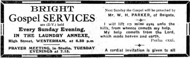 Advert for Gospel Hall meetings