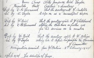 Black Eagle Football Club  Minutes 1924
