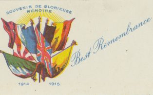 1914 - 1915 Glorieuse Memoire remembrance card