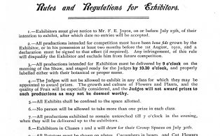 Horticultural Society rules for exhibitors