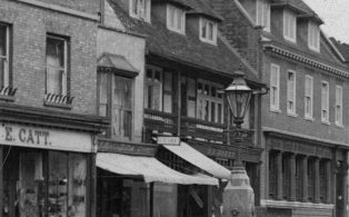 Edwin Hollingworth's shop and the water fountain
