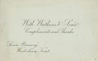 Swan Brewery Compliments Slip pre 1897