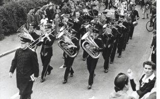 Town Band marching with Walter Bennett, Bandmaster early 1950s