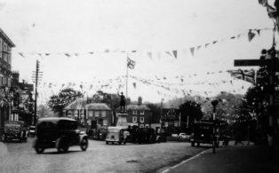 Market Square decorations, peace celebrations 1945