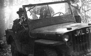 Churchill in his Jeep