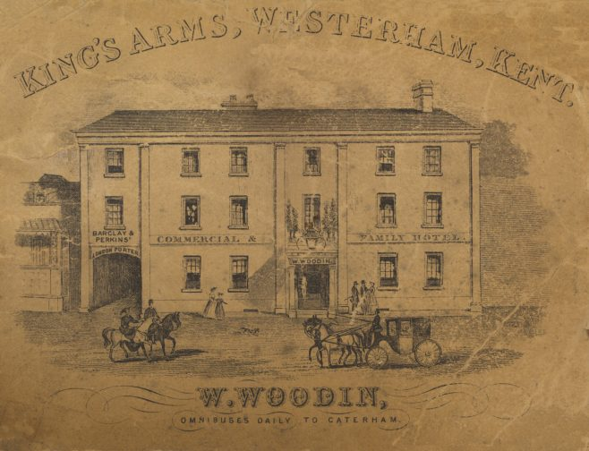 A 'carte-de-cabinet' engraving from before the days of photography circa 1830, at that time the only form of advertising. Note the inscription above the coach entrance for Barclay & Perkins. Around the time this carte was produced, their Southwark based brewery was the largest in the World!   London's great diarist Samuel Johnson had his own room at the brewery, and his favourite chair was kept in the boardroom for some time after his death.   The brewery initially produced only porter – a dark style of beer made from brown malt – until 1834, when it introduced pale ale. It was also well known for its Russian Imperial Stout.