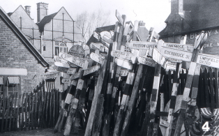 Oxted wartime road sign store