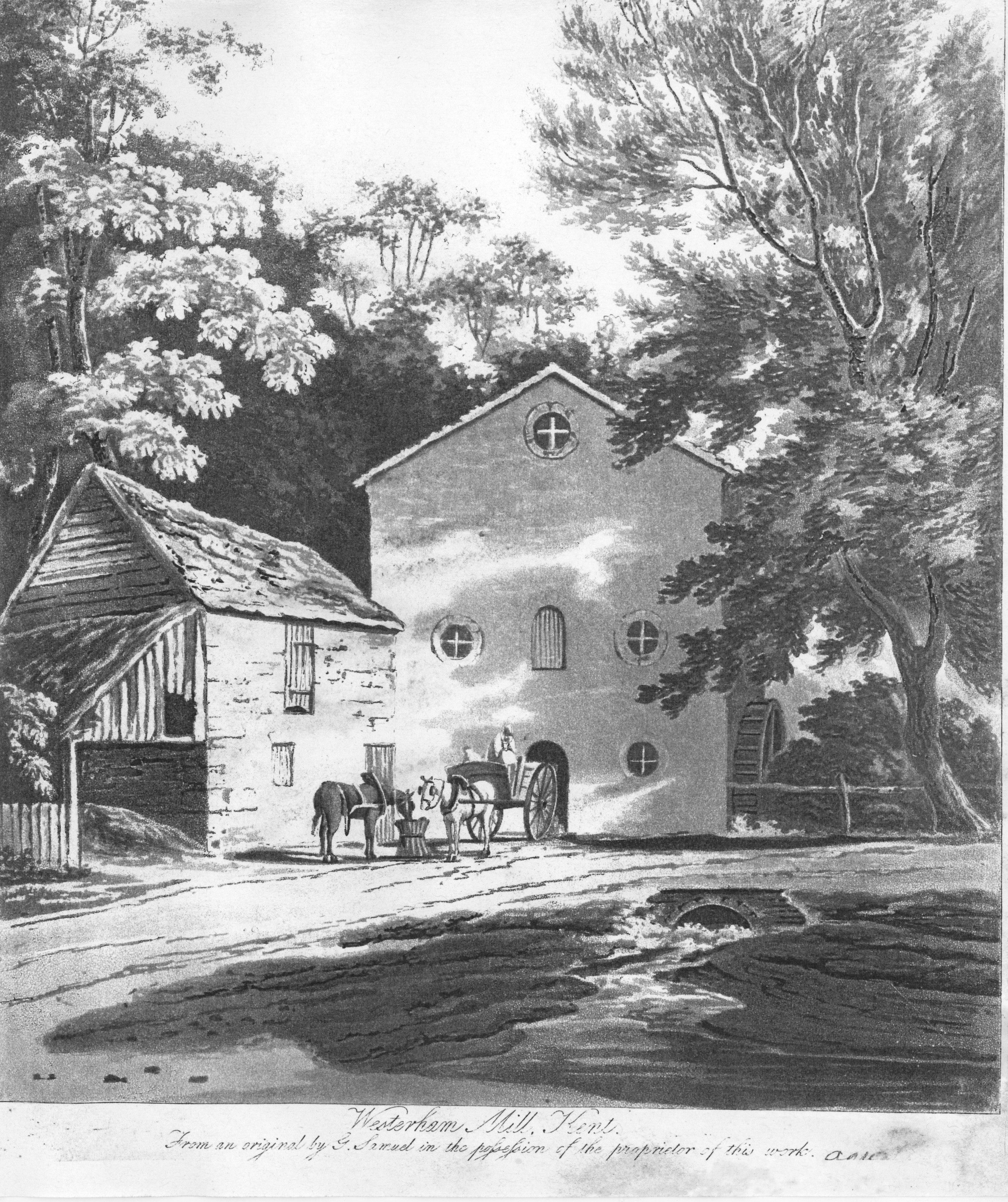 Etching of Elm View Mill in Mill Lane West of Town