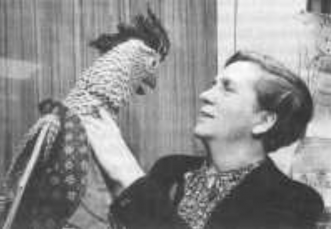 Freda Lingstrom with Porterhouse Parrot, one of many characters developed by Westerham Arts