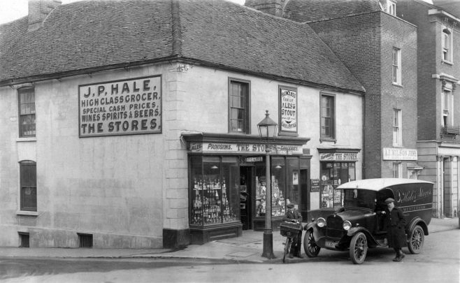 On the other side of London Road - in what is now Costa Coffee - John P. Hale ran 'The Stores' a high class grocery business with a staff of six young assistants. This photograph, unmistakably the same building but taken around 1920, shows a somewhat laissez-faire attitude to parking back then, still enjoyed by some at this point…