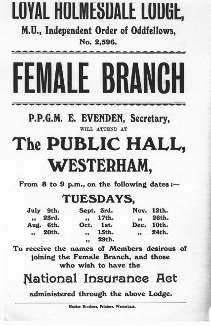 1911 Oddfellows Female Branch Meetings Calendar