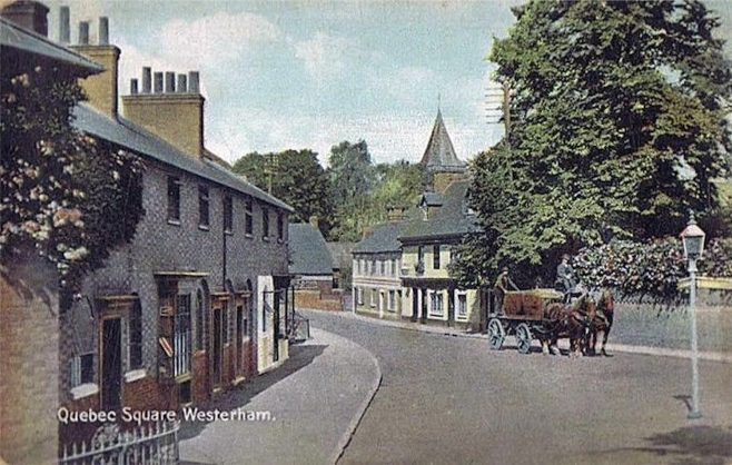 The view from West Lodge up Vicarage Hill shows retail trade at this end of town. The first shop in the foreground-left is a little grocer's shop, then the white painted frontage was a pork butcher's shop run by William Dove. Opposite and further up can be seen 'The Old House Inn' with adjoining cottages which are no longer there.