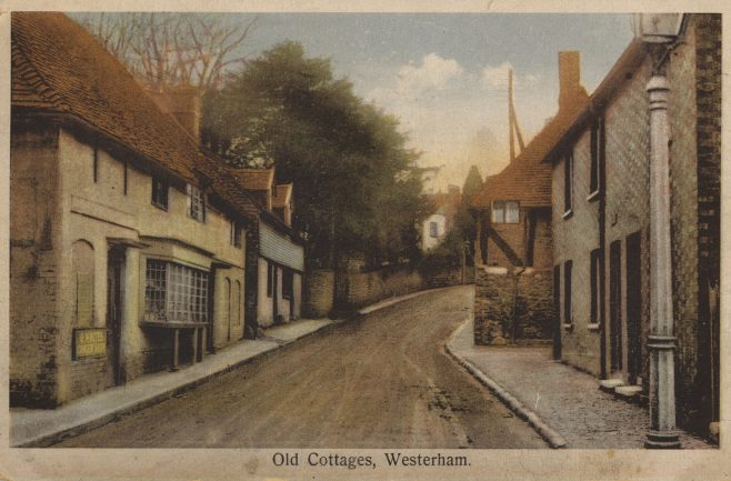 Further up the hill we come to Red Cow House of today, once another Inn, but at this time, circa 1918, another grocer's shop, advertising R. White's Ginger Beer. The cottage beyond, which sat adjacent to the Vicarage at that time was called 'Copthall' as it is today, and housed a 'Small Confectioner's' shop.