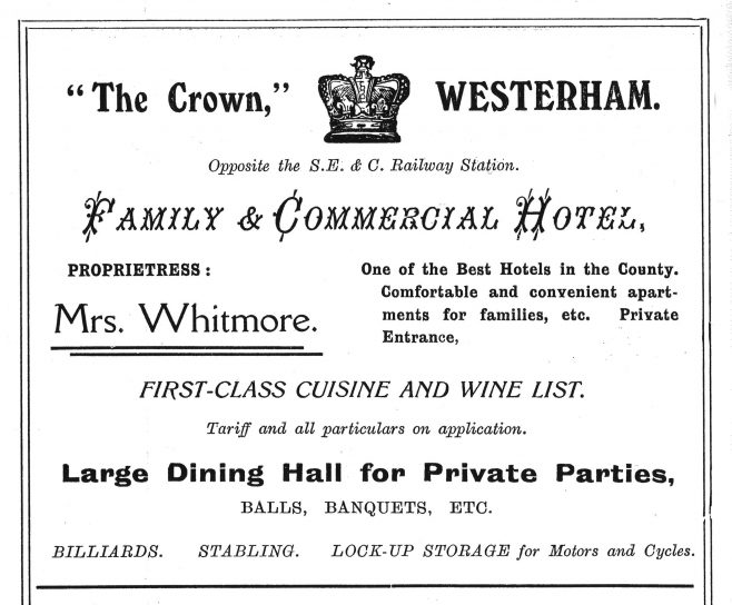 """The Crown Family and Commercial Hotel was built in 1883, two years after the opening of the Westerham Valley Railway and it is, perhaps, interesting that it was not called the Station Hotel. Originally described as """"…contains superior accommodation for Families, Commercials, Private Parties &c. The rooms are lofty, commodious, pleasant and well ventilated, with private entrance…"""" It was to last only 108 years."""