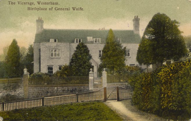 The old Vicarage remains pretty much the same as it appears in this aquatint photo-postcard of circa 1910. The last incumbent of 'The Living' at this Vicarage was Canon Herbert Buchanan Boyd  M.A. from 1920 to 1927. It has always been claimed that James Wolfe was born here on 2nd January 1727 while his parents were visiting Rev.d George Lewis and his family. The gate directly opposite led from a footpath up to the churchyard as can be seen on the 1869 map below. It is now access to the new Vicarage garden.