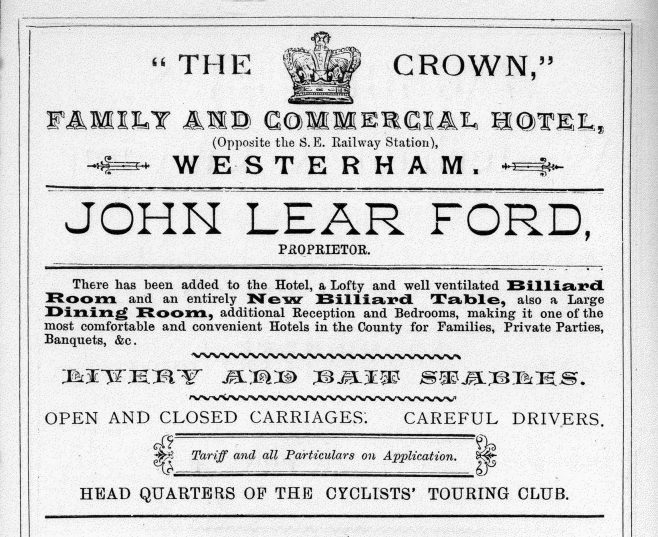 1890 advertisement from Hookers Almanack for that year. The 'livery and bait stables' being advertised would have offered horses for hire, as well as stabling and feeding for client's horses - hence the need for both terms. It is likely that there would have been an arrangement between the hotel and John Townsend, proprietor of the Warde Arms and carrier who owned commodious stables behind the railway station from which he hired out carriages and offered a full livery service. Townsend was a very interesting man who started out as a 'colt breaker' and became known over time as Westerham's 'horse whisperer'.