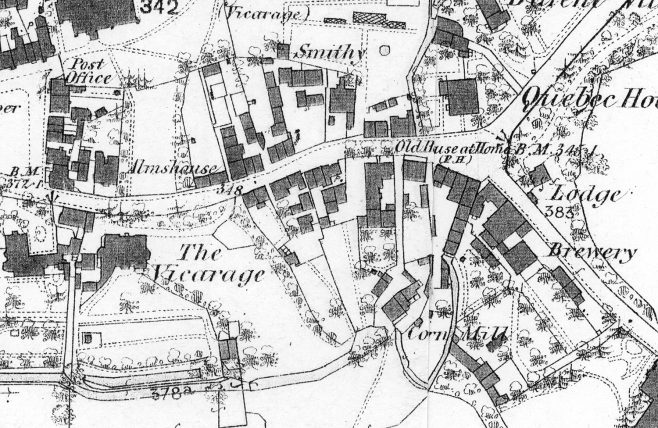 An 1869 map showing the old Vicarage and the path opposite seen above leading up to the churchyard