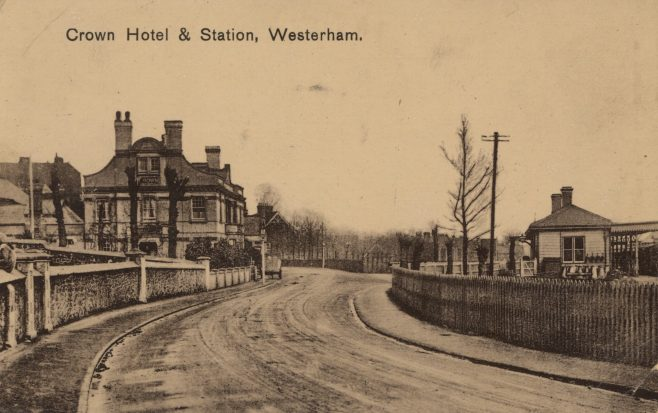 From 1900, the stretch of London Road from Madan Road to the railway station was known, not surprisingly, as 'Station Road'. In 1883 the 'Crown Family & Commercial Hotel' was built opposite the railway station. An application by Watkins brewery for a license to sell wines, spirits and beer was opposed by Nalder and Collyer, brewery owners of the George and Dragon along with vigorous opposition from Mr Hadley, proprietor of The Kings Arms. Messrs Watkins and Son cunningly withdrew application for renewal of the license on their little Swan Beer House, and the bench granted the new license for The Crown... The Swan Beer House (now Castle Antiques) became the Swan Coffee Tavern.