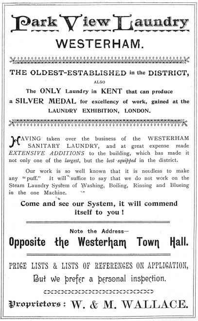 This informative advertisement from Hooker's Almanack of 1899 was written with pride.  In an earlier advertisement of 1891 Mrs Wallace promoted herself as 'Formerly Laundress to the Hon. Mrs. Warde of Squerryes Court.  At the time these advertisements were produced very few roads had names and none of the houses were numbered, hence 'Note the Address...'