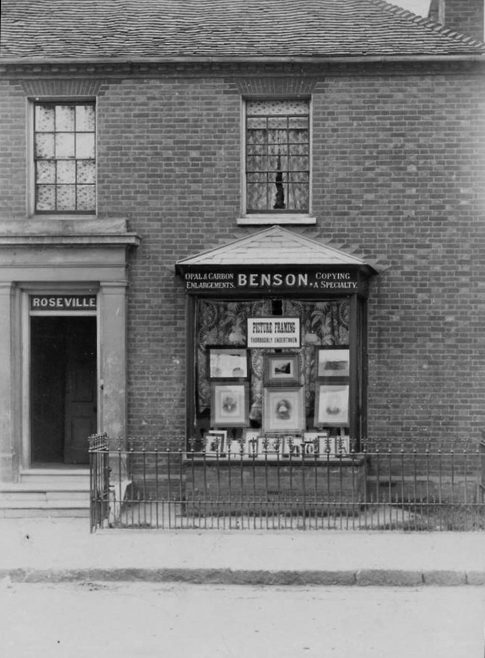 Frederick George Benson opened his photography business in 1901 at the age of 25 at Roseville next door to 'The Cottage' on the north side of the High Street. Here he offered 'Opal and Carbon Enlargements' alongside Picture Framing and Picture Copying. Benson was also practising as one of the town's three taxidermists in the early 1900s and all were local photographers. In Hooker's Almanack he advertised '...Horns and Heads Polished and Mounted, and Animals, Reptiles, Birds and Fish Dressed and Mounted as Life...