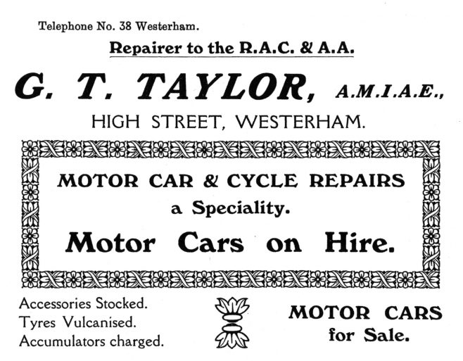In 1908, twenty-eight year-old George Thomas Taylor, a Motor and Cycle Engineer from Westbury, Wiltshire came to Westerham and opened a garage on the High Street opposite the Warde Arms. This garage survived until 1923 when it was sold as a going concern to one Harry H. Ryall who redeveloped it as 'Westerham Motor Garage'. Ryall did not stay too long and 'The Westerham Motor Garage' subsequently went on to be managed by forty-eight year-old Charles Woollett from 1928 through to 1938, during which time it was known locally as 'Woolletts'. It remained closed throughout the second world war, but in 1945 a company called Brittain Engineering came to Westerham and bought the interests in the garage. It was renamed  'Brittains Westerham Motor Garage Ltd' in which guise it lasted until the mid 1980s.