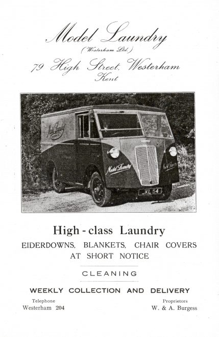 The Morris Commercial PV van went into full production in 1946 and this one was sold to the Burgess family around that time. Prior to this the Model Laundry had a smaller Austin van, driven by their son Robert from about 1938.