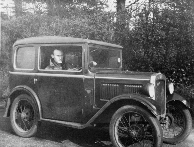 John in his baby Austin in the late 1930s