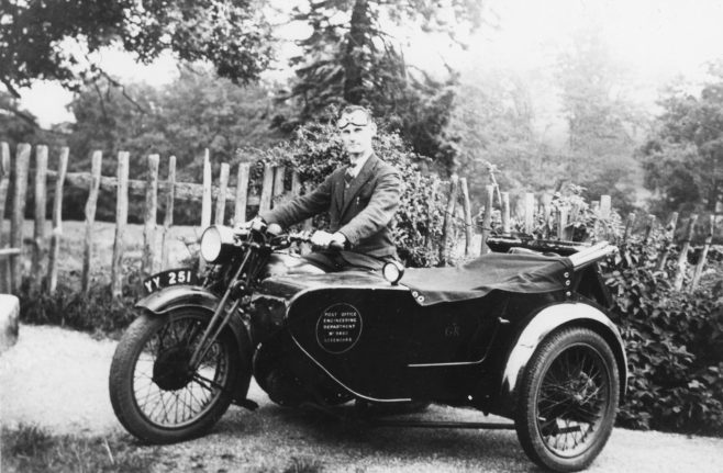 On leaving Hosey boys school, John took an apprenticeship with the General Post Office and went on to become the telephone engineer for Westerham and Biggin Hill. He is seen here, circa 1936, astride a 'G.P.O. engineering department' motorcycle combination.   The family lived at Merle Cottage in the High Street.   John had one younger brother Reginald, who took over the printing works in 1948 when Alfred James died.  Reg was always known in the firm as 'Mr. Reg' and he worked alongside his cousin Arthur, who was always known as 'Mr. Bob'. John was an inveterate collector of ephemera - film, photographs and, perhaps somewhat surprisingly, a huge collection of Hooker Bros. printed work including billboard posters photo-postcards, newspapers and stationary, much of which survives to this day, representing an important chapter of Westerham's social heritage. Although an expensive hobby at the time, John was a keen and prolific cinematographer and several of his films still exist on 9.5mm, and then later, 16mm. His greatest love was collecting butterflies, and he was said to have a large display collection, though nobody knows where that is now. Working with his younger brother Reg, John lit the Hosey Evening School production of 'A Midsummer Night's Dream' performed in the W.I. hall in 1934, the first time an amateur production had ever been lit in the town.