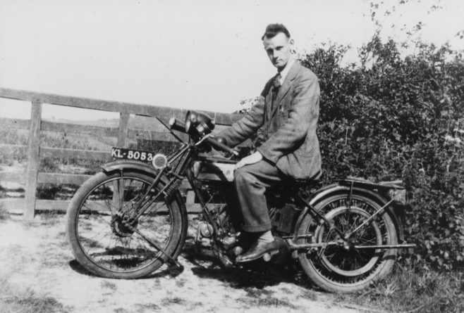 He progressed through a couple of second-hand motorbikes until in 1925, when only twenty-one, he purchased his first brand-new 'bike from Ernest Blackton at Wolfe Garage on the Green. This was a Triumph model P with electric lighting and a bulb horn…