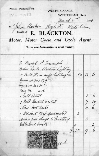 The invoice from Ernest Blackton at Wolfe Garage.  In 1925, £54-9-6d was a lot of money for a young man working for the G.P.O.
