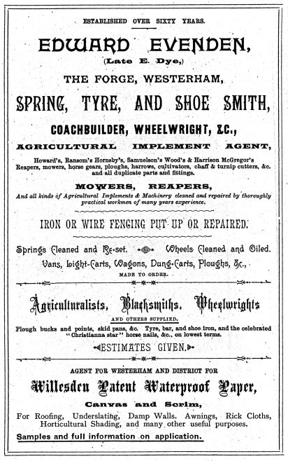 As Sibley had done, Evenden also used 'Late E. Dye' in his advertisements to retain customer loyalty. Both men claimed longevity of their new business ventures through this means. William Genge ran an ironmongery business to the right of the Kings Arms in Market Square. When Genge retired in 1915, Edward Evenden bought the shop to expand his business interests alongside the wheelwright, carriage and cycle works at 'The Forge' at the bottom of Hosey Hill.