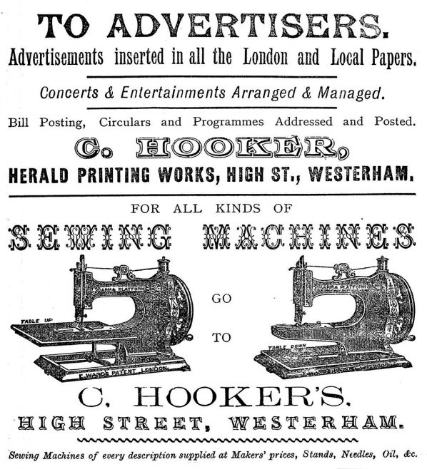 ...  and a retail agent for 'Patent Stitchwell' lock-stitch Sewing Machines! He also advertised, arranged and managed concerts and entertainments which were held in the adjacent Town Hall.