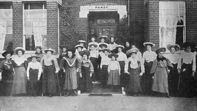 In 1890, John Groom's Crippleage and Flower Girls' Mission in Clerkenwell opened another Orphanage at Clacton-on-Sea for fatherless girls aged 2 - 14, some with physical infirmity or blindness. The girls attended local schools, and on reaching the age of fourteen, they left and either went into domestic service, or joined the flower-making enterprise at Clerkenwell.