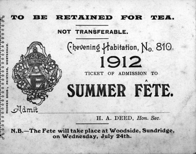 The other important artefact to have surfaced is this ticket to the Summer Fete of 'Chevening Habitation' which was the locally registered seat of the 'Primrose League'.  Led by Sir Henry Drummond Wolff and Lord Randolph Churchill, a small group of Conservative peers had for some time discussed the means for obtaining the support of people from all classes for Conservative principles. Out of their discussions, the Primrose League was founded in 1883, using as its symbol the favourite flower of Benjamin Disraeli. Ladies were generally included in the first organisation of the League, but subsequently a separate Ladies Branch and Grand Council were formed by Lady Borthwick, Lady Randolph Churchill and others in 1885. The Primrose League was the first political organisation to give women the same status and responsibilities as men. Part of the attraction of the League was due to its cross-class appeal - workers could enjoy the summer fêtes at the local 'Habitation', the middle-classes could enjoy meeting the local big-wigs, while for upper-class women, the League offered an opportunity for political mobilisation, with the new safety bicycles providing the means for them to independently reach Sevenoaks and the outlying villages.