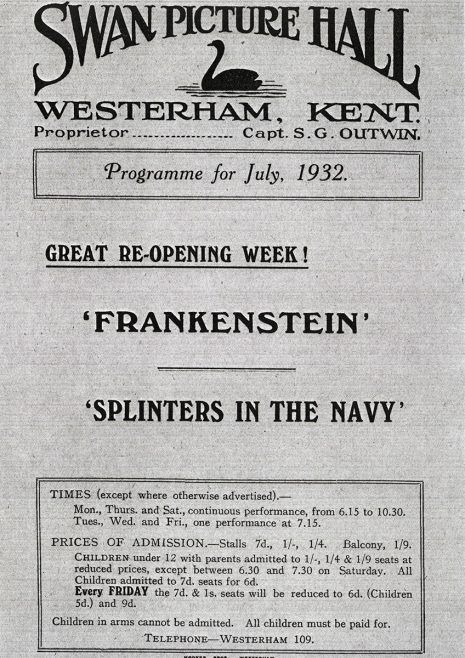 Entertainment programme for the re-opening of the Swan Picture Hall in July 1932 when the first 'talkie' projection system had been installed.